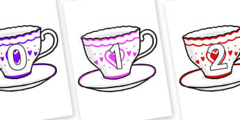 Numbers 0-100 on Cups and Saucers - 0-100, foundation stage numeracy, Number recognition, Number flashcards, counting, number frieze, Display numbers, number posters