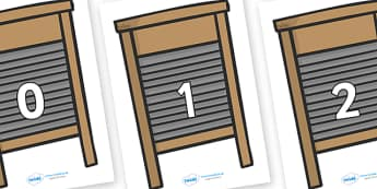 Numbers 0-100 on Washing Boards - 0-100, foundation stage numeracy, Number recognition, Number flashcards, counting, number frieze, Display numbers, number posters