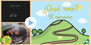 Presentación: ¿Qué ves en verano? - vacaciones, summer, holidays, sol, sun, playa, beach, borde, border, border, borders,Spanish