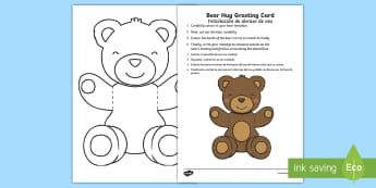 Mother's and Father's Day Bear Hug Greetings Card English/Spanish - Mothers' Day, Fathers' Day, greeting card, template, bear hug, visual art, cutting, colour, dad, m