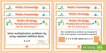 Multiplication/Division Stage 5 WALT Display Posters - WALT cards for NZ Mathematics, stage 5, mult, div, mult/div, multiplication, division, numeracy proj