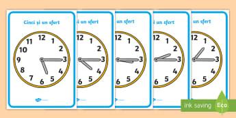 Ceas analogic: un sfert peste ora exactă - timpul, unități de măsură, activități, română, activitate, citirea ceasului,Romanian