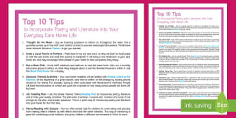 Incorporate Poetry and Literature into Everyday Care Home Life Top Tips - Top 10 Tips, Advice, Ideas, Support, Carers, Schools, Activity Co-ordinators, Agency Care Staff, Int