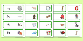 Final G Sound Word Cards - word, cards, final, g, sound, cards