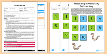 Recognising Numbers Wriggly Worm Activity EYFS Adult Input Plan and Resource Pack - EYFS planning, early years activities, maths