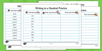 Number Words One to a Hundred Writing Practice Worksheets - practice, number