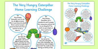 EYFS Reception FS2 Home Learning Challenge Sheet to Support Teaching on The Very Hungry Caterpillar - EYFS, homework, Early years, insects, minibeasts, Eric Carle