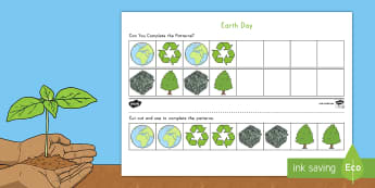 Earth Day AB Pattern Worksheet - Earth Day worksheet, AB pattern activity, AB patterns, recognize AB patterns, extend AB patterns, patterning P