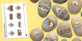 Humpty Dumpty Story Stones Image Cut Outs - Story stones, stone art, painted rocks, Nursery Rhymes, song