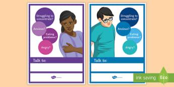 Mental Health A4 Display Poster - Help, mental health, poster, signposting, PSHCE