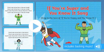 If You're Super and You Know It Song PowerPoint - Superheroes, superhero, action song, PowerPoint, singng, songtime, superman, batman, spiderman, elsa