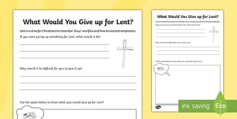 Lent Activity Sheet - KS1 & 2 Easter 2017 (16th April), lent, RE
