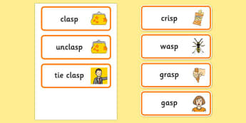 Word Final SP Word Cards - speech sounds, phonology, articulation, speech therapy, cluster reduction