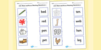 CVC Word and Picture Matching Worksheets e - cvc, matching, e