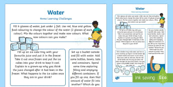 EYFS Water Home Learning Challenges Nursery FS1 - EYFS Water, water cycle, rain, rivers, sea, oceans, explore water, home learning, homework, parents,