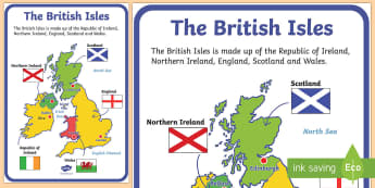 British Isles Display Poster - The United Kingdom Display Poster - geography, countries, display, georgraphy, UK, britain, map of t