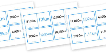 Kilometres and Metres Loop Cards - kilometres and metres, length, metres, kilometres, loop card, cards, flashcards, loop, image, m, km, distance, Maths