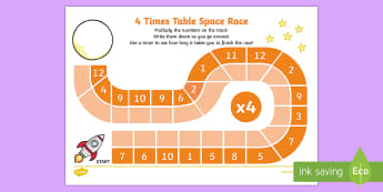 4 Times Table Space Race Activity Sheet - 2 Times Table Space Race Activity Sheet - multiplication, multiply, sheet, mulitplication, multipica