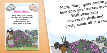 Mary Mary Quite Contrary Nursery Rhyme Poster - rhymes, display