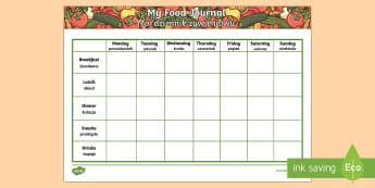 Healthy Eating My Food Journal Polish Translation - English/Polish - food journal, food diary, table, food record, health,Polish-translation