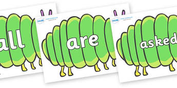 Tricky Words on Fat Caterpillars to Support Teaching on The Very Hungry Caterpillar - Tricky words, DfES Letters and Sounds, Letters and sounds, display, words