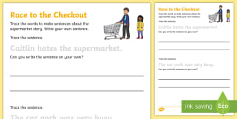 Race to the Checkout Trace the Sentences Activity Sheet - ROI, Aistear, Supermarket, Worksheet, exploring my world,Irish