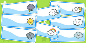 Weather Themed Drawer Peg Name Labels - seasons, signs, name tags
