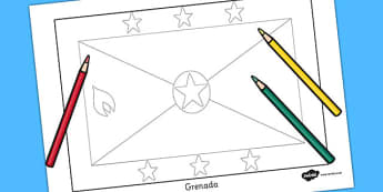 Grenada Flag Colouring Sheet - countries, geography, colour