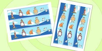 Display Borders to Support Teaching on The Lighthouse Keeper's Lunch - The Lightkeeper's Lunch, Ronda Armitage, Mr Grinling, Mrs Grinling, seagulls, seaside, lunch, Hamish, resources, sandwhich, story, story book, story book resources, story sequenci