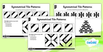 PlanIt Y4 Properties of Shape Symmetrical Tile Patterns Home Learning - Properties of Shapes, symmetry, symmetrical patterns