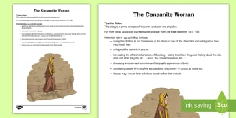 The Canaanite Woman Guide  - Northern Ireland Curriculum, RE Reconciliation, the Canaanite woman, canaan, Jesus, inclusion, seclu