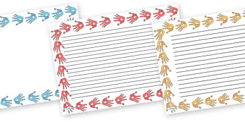 Handprint Full Page Borders (Landscape) - page border, border, frame, writing frame, writing template, handprint page borders, handprint writing frames, hands, writing aid, writing, A4 page, page edge, writing activities, lined page, lined pages