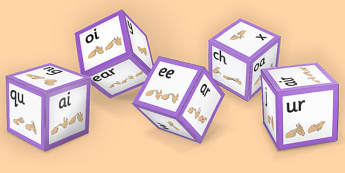 Phase 3 Phoneme Sound Dice Net with British Sign Language - phase 3