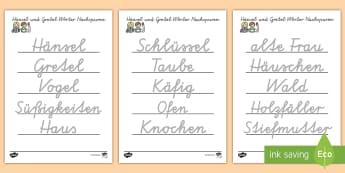 Hänsel und Gretel Arbeitsblatt Erstes Schreiben: Wörter nachspuren - Hänsel und Gretel, Märchen, Wortschatz,German