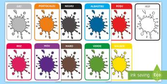 Culori Cartonașe - suprot vizual, culoare, activități plastice, culori primare, Romanian translation