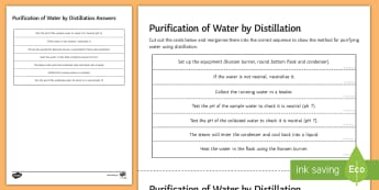 Purification of Water by Distillation Sequencing Cards - Sequencing Cards, chemistry, gcse, purification, water, potable water, drinking water, clean water,