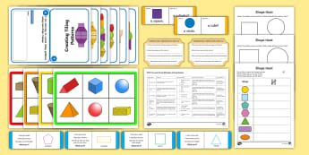 2D and 3D Shapes First Level Activity Stations - CfE Numeracy and Mathematics, number, money, measure, shape, position, movement, data handling, info