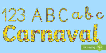 Pack de letras y números de mural: Carnaval - Carnaval España, cuaresma, decoración de la clase, decoración de carnaval, disfraz, disfrazar,Aus