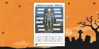el esqueleto de Halloween actividad de etiquetar