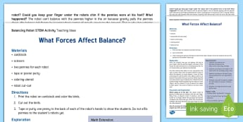 Robot Balancing STEM Teaching Ideas -  - Science