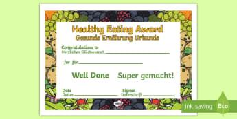 Healthy Eating Award Certificates English/German - Healthy Eating Award Certificates - healthy, healthy eating, certificate, award, fruit, vegetable, h