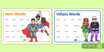 Hero And Villain Describing Word Mats - descriptions, heroes