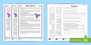 Grade 3-5 Fidget Spinners Differentiated Reading Comprehension Activity - KS2, year 3, year 4, year 5, year 6, yr 3, yr 4, yr 5, yr 6, fidget spinners, finger spinners, toy,