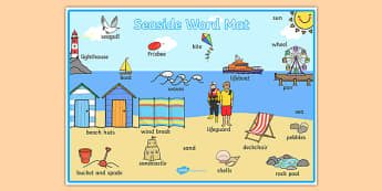 Seaside Themed Scene Word Mat - seaside, at the seaside, seaside word mat, seaside scene word mat, labelled seaside scene, seaside key words, beach