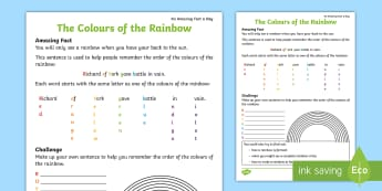 The Colours of the Rainbow Activity Sheet - Amazing Fact Of The Day, activity sheets, powerpoint, starter, morning activity, May, rainbow, order