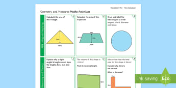 Foundation: Geometry and Measures (Non-Calculator) Revision Activity Mat - Secondary - Maths - Exams MatsRevision, Foundation, KS4, Geometry, Measures, Non-Calculator, Using a