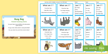Animal Guessing Game Busy Bag Prompt Card and Resource Pack - Phase 1, Aspect 1, General Sound Discrimination, Environmental Sounds, phonics, letters and sounds,