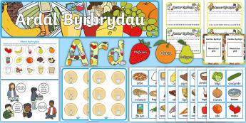 Pecyn Arddangos Amser Byrbryd - byrbryd, byrbrydau, llaeth, ffrwyth, amser, snac,Welsh.