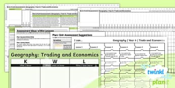 PlanIt Geography Year 6 Trade and Economics Unit Assessment Pack
