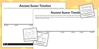 Ancient Sumer Location and Era Timeline Activity - sumer, time